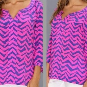 Lilly Pulitzer Pink Blue Chevron Silk Blouse Small